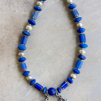 Antique Chinese Figures Necklace 2 Silver Pendants w Afghan Blue Lapis Lazuli and Antique Blue Chevron Beads Ethnic Gemstone Jewelry