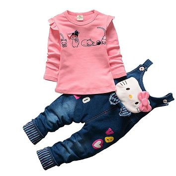 BibiCola Hot Spring Baby Girls Clothing Set Children Denim overalls jeans pants + Blouse Full Sleeve Twinset Kids Clothes Set