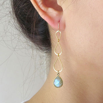 Three Tear Gemstone Gold Earrings