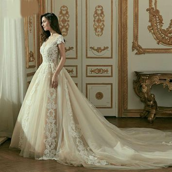 Lace Wedding Dresses Cap Sleeves Long Train Ball  Gowns for Wedding
