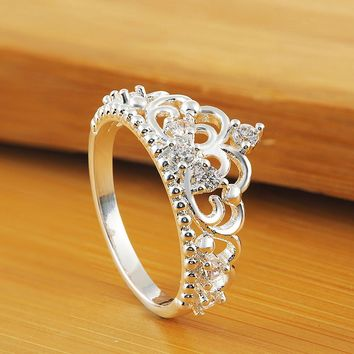 One Princess Queen Crown Ring Design Wedding Crystal Size 7 Fashion Jewelry Ring