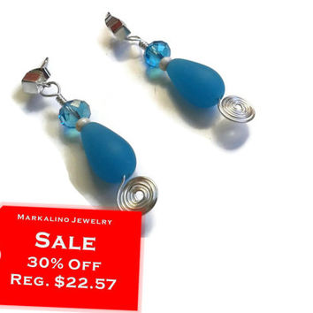 """Sale 30% Off Aqua Earrings - Sea Glass and Crystal with Spirals - Sterling Silver Cube Posts - 2"""" - EAR106"""