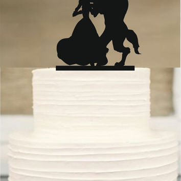 Disney cake topper,silhouette wedding cake topper, mr and mrs wedding cake topper, beauty and the beast,Funny Wedding cake Topper,Cake Decor