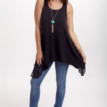 Black Crochet Side Racerback Tank Top