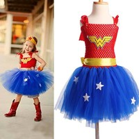 Superhero Inspired Girl Tutu Dress Wonder Woman Batman Superman Cosplay Photo Props Dress Halloween Birthday Gift TS089