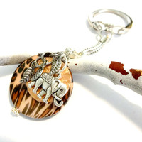 It's a Jungle Out There Elephant and Leopard Print Keychain, Safari Accessories, Good Luck Charm