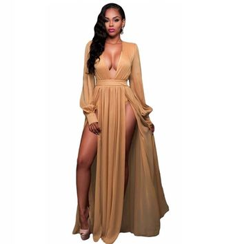 Deep V Neck Shimmer Maxi Slit Goddess Dress