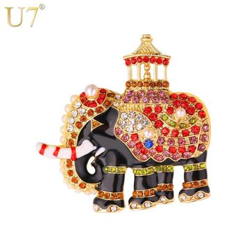 U7 Colorful Crystal Thailand Elephant Brooches Women Party Jewelry Gift Rhinestone Animal Brooch Pin B130