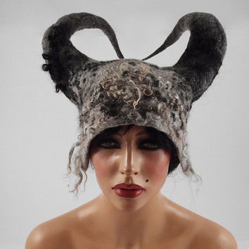 Grey Felted Hat Nunofelt Hat Antlers Hat Vikings Hat Horn Hat WILD BEAUTY Art Hat Gray Viking  hat hats Felt wearable art Nunofelt Nuno felt