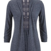 Lace Back Open Front 3/4 Sleeve Cardigan