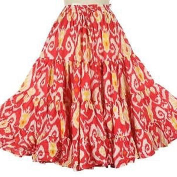 Tiered Skirt Belly Dance Tango Dance Flamenco-skirts for flamenco Dance dance Cotton 25 Yards 4-Tier Skirt Gypsy Boho