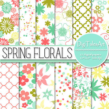 "Floral digital paper ""Spring Florals"" flower digital clip art papers in blue olive green teal pink, patterns, download, floral background"