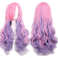 Ellena®Womens/Ladies 80cm Pink&Purple Color Long CURLY Cosplay/Costume/Anime/Party/Bangs Full Sexy Wig (80cm,Curly Pink&Purple)