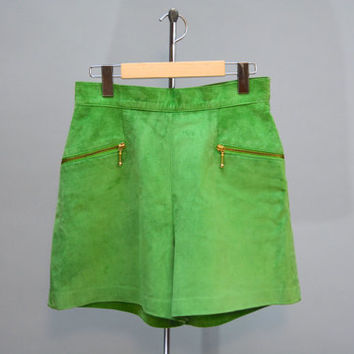 Green Suede Shorts - Vintage Emerald Green High Waist Suede Shorts with Front Pockets and Brass Zippers Size S - M Small to Medium