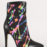 Paint Splatter Canvas Stiletto Bootie