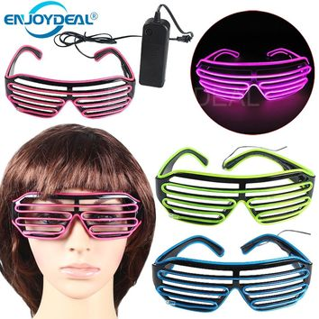 EL Wire Fashion Neon LED Light Up Shutter Shaped Glasses Rave Festival Party Decorative Sunglasses