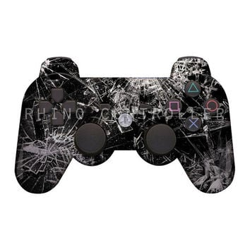 Rapid Fire Custom Sony Playstation 3 Wireless Controller Modded PS 3  Controllers- Shattered Glass