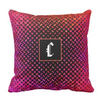 """Vibrant colorful dots with black base """"C"""" monogram Throw Pillow"""
