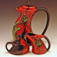 Tea Set - Red Poppy Funky Tea Pot, Cream & Sugar - Colorful Botanic Floral Pottery Serving Home Decoration or Gift Giving   RP-369, RP-374