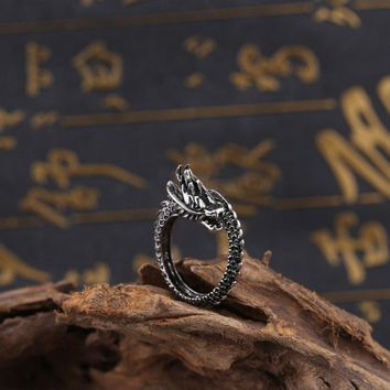 New Fashion Dragon Ring Retro Titanium Steel Punk Domineering Opening Ring Dragon Jewelry for Men