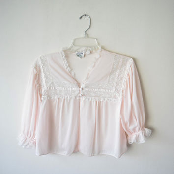 40s/50s Artsheen by Lady Duff Pink Nylon Chiffon Bed Jacket // Pinup Burlesque Boudior Goddess Lingerie, Sleepwear // DEADSTOCK w Tag