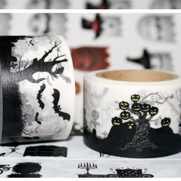 Beautiful high quality 30mm*10m halloween washi tape halloween view diy and masking japan washi tape