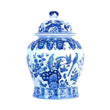 Beautiful Blue and White Porcelain Chinoiserie Bird Temple Jar 13""