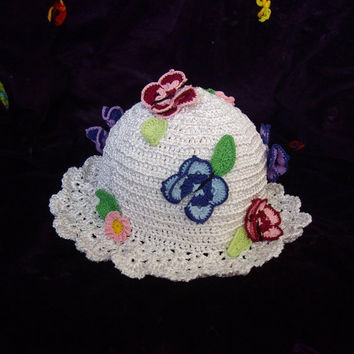 ON SALE - 10% OFF Crochet girl hat...Easter white beanie...Butterfly and pink flowers toddler girl cap...photo prop...