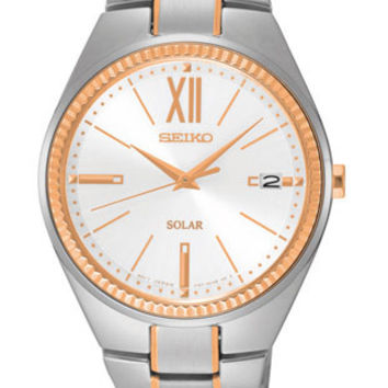 Seiko Womens Recraft Solar Watch - White Dial - Rose-Gold Tone Accents