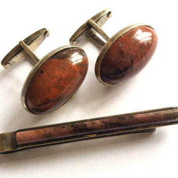 Exclusive Rare, USSR Silver Sterling 875 Cufflinks, Gold Plated NATURAL STONE with Tie clip