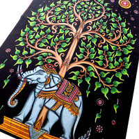 TWIN cotton elephant tapestry tree of life wall hanging indian bedspread cover bohemian boho bedding throw ethnic home decor