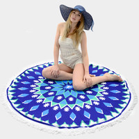 Round Tribal Tassel Beach Blanket Towel