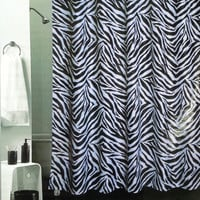 Safari Bathroom - Zebra Fabric Shower Curtain