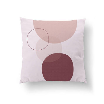Pink Burgundy, Pastel Circles, Watercolor Pillow, Home Decor, Cushion Cover, Simple Design, Textured Shapes, Throw Pillow, Decorative Pillow