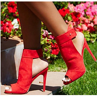 Slingback Fashion Women Peep Toe High Heels Shoes