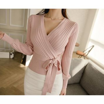 Elegant Pink V Neck Lantern Sleeve Lacing up Wrap Sweater Fall Cardigan Knitted Jumper Ladies Tops