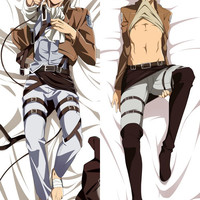 New  Attack on Titan Male Shingeki no Kyojin Anime Dakimakura Japanese Pillow Cover MALE1