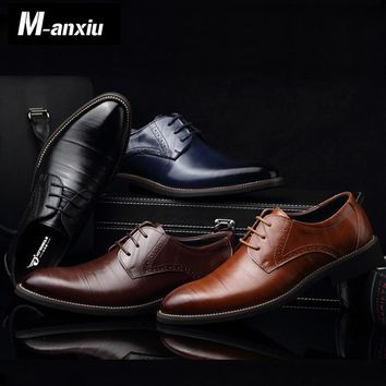 M-anxiu Men Casual Flat Classic Men Dress  Genuine Leather Wingtip Carved Italian Formal  Oxford Plus Size 38-48 Lace Up Shoes