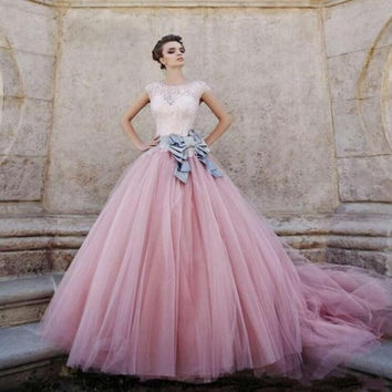 Pink Short Sleeves Ball Gown Quinceanera Dresses 2016 Gray Bow For 15 16 Court Train Appliques Tulle For Party Pleat M1191