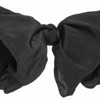 Large Black Soft Hair Bow Clip - Vintage clothing from Rokit - hair, slide, clip, barette, clasp, bow, black