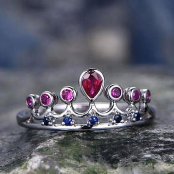 Natural Ruby Center,Pink and Blue Sapphire wedding ring-solid 14k white gold-handmade Unique ring-Princess Crown-Girl Dream engagement ring
