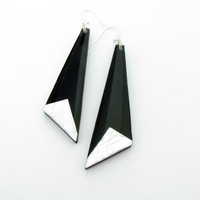 Black Dangle Earrings Dangle Long Earrings Resin Silver Flakes Geometric Earrings Modern Contemporary Jewelry