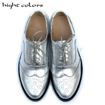 2018 New Retro British Style Carved Genuine Leather Flat Heels Color Matching Lace-Up Big Yards Oxford Shoes For Women 12 Colors