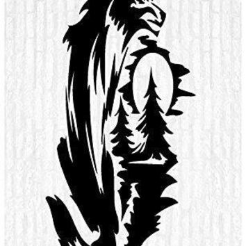 Night Wolf Wolves Moon Man Cave Animal Rustic Cabin Lodge Mountains Hunting Vinyl Wall Art Sticker Decal Graphic Home Decor