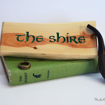 The SHIRE, Lord of the Ring, Hobbit, Middle Earth, Magic Words, Desk/Shelf décor, Juniper,  Carved Wood, Man Cave, J.R.R. Tolkien