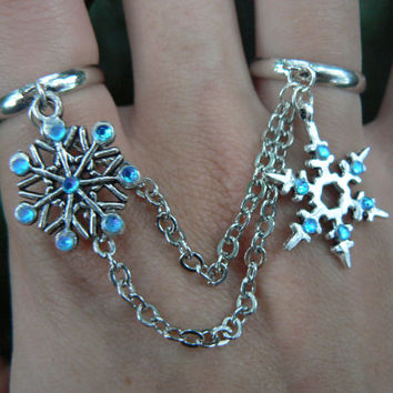snowflake double chained ring slave ring double ring rhinestones in frozen winter holiday hipster boho gypsy hippie and fantasy  style
