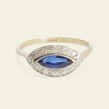 1920s Sapphire and Diamond Eye Cluster Ring