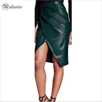 Alcestis Spring Women PU Faux Leather Club Sexy Skirt Bandage Bodycon Party High Waist Summer Female Pencil Skirts