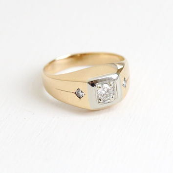 Vintage 14k Rose Gold Men's Diamond Ring - .38 CTW Mid-Century 1950s 1960s Two Tone Engagement Wedding Anniversary Fine Jewelry