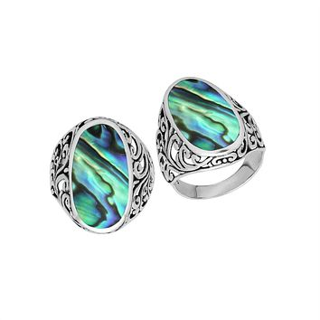"AR-1087-AB-6"" Sterling Silver Ring With Abalone Shell"